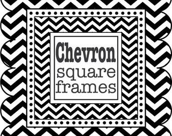 Square Frames in Chevron - digital clip art - Black and White