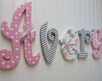 Nursery name sign, Girl Nursery letters, Nursery wall hanging letters, nursery decor, nursery wood name, Girl Nursery name, pink gray