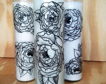 floral prayer candle