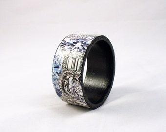 Hand Painted and Decoupaged Diamond Cuff -Wooden Bangle Bracelet
