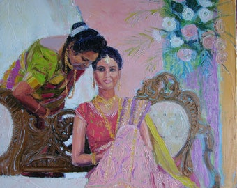 PLEASING COUNSEL  Indian bride in beautiful dress, original palette knife oil painting