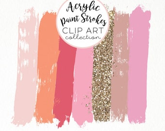 Paint Brush Stroke Clip Art Clipart Pink Peach Gold Acrylic Glitter HiRes PNG Commercial Use Hand Drawn Graphics Instant Digital Download