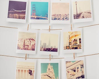 San Francisco photography, tiny prints, gift under 25, pastel nursery decor, Golden Gate, Painted Ladies, for her, California lovers gift