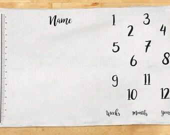 "Growth blanket ""Height"" - Age Blanket - 100% linen - Milestone Blanket - Baby Shower Gift - Baby Month Blanket"