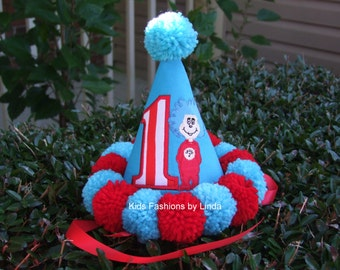 Turquoise and Red Applique Number  Pom Pom Birthday Hat 2