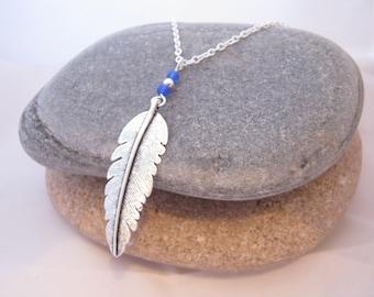 Blue Aventurine Feather Necklace, Silver Feather Necklace, Gemstone Necklace, Statement Necklace, Blue Necklace, Aventurine Necklace