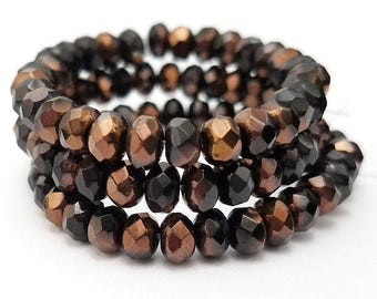 Set of 30 Black with Copper Czech Glass Faceted Rondelle Beads 5x3MM (H6015)