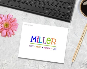 Family Note Cards - Note Cards - Personalized Note cards - Custom Note Cards - Thank You Notes - notecards, family stationery, stationary