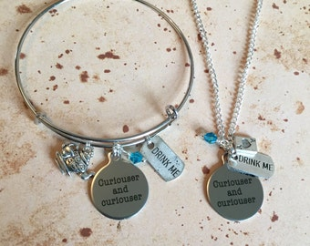 Curiouser and Curiouser - Alice in Wonderland Charm Necklace, Bangle or Keyring
