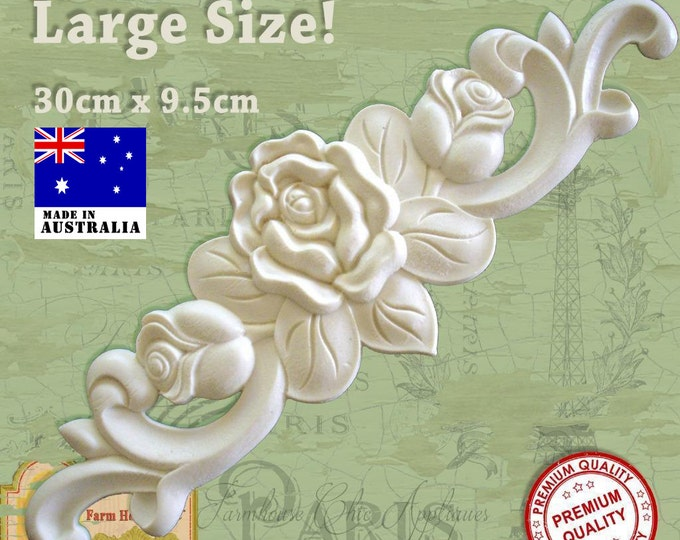 Shabby Chic French Furniture Roses Applique Moulding Carving Onlay Decoration