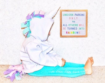 Girl Unicorn Outfit, Unicorn Gifts, Unicorn Birthday Gift, Unicorn Costume for Girl, White Unicorn, Girl Birthday Gifts, Hoodies for Girls