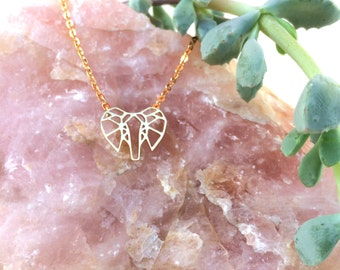 Elephant Charm Necklace in Gold - Elephant Outline, Gold Elephant, Minimalist Necklace