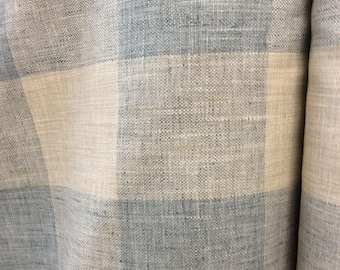 RUSTIC WOVEN buffalo check lagoon blue ivory multipurpose very French fabric