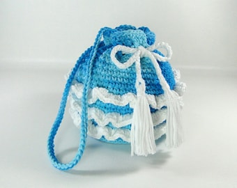 Ruffled Purse - Girl's Ruffled Purse - Little Girl's Purse - Crochet Purse - Make-up Bag - Cosmetic Bag - Ocean Waves