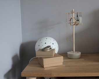 Concrete and wood jewelry display stand for necklaces, bracelets, earrings and rings