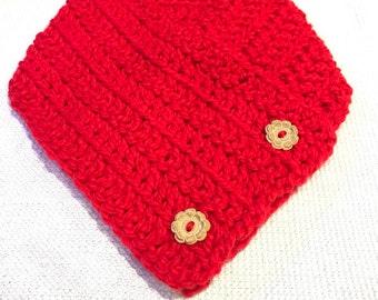Red Button Scarf, 2 Button Neck Warmer, Button Cowl