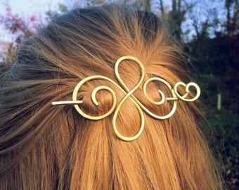 Metal hair barrette Valentine gift for her Celtic hair clip Gold hair slide Brass hair pins Spiral hair clip Gift for womens gifts
