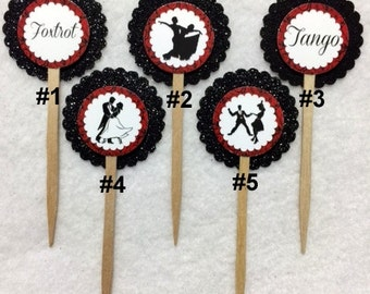 Set Of 12 Ballroom Dancing Cupcake Toppers (Your Choice Of Any 12)