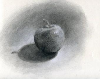 Apple study #7 (Original charcoal drawing)