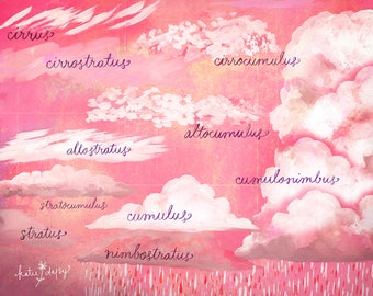 Cloud Chart art print | Watercolor Wall Art | Paper Print | Virginia Woolf