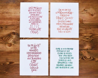 Hand lettering prints Bible verse quotes 8x10 hand lettered prints Ephesians verses set Faith wall art Gift for a friend Christian decor