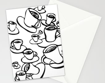 Coffee, Greeting cards, Set of THREE FOLDED CARDS