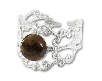Ring silver plated - smoky quartz (adjustable size) print