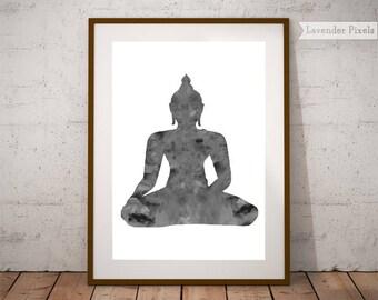 Yoga studio wall art Buddhist print Black and white Buddha poster printable Buddha wall art Home yoga studio Hindu printable Buddhist decor