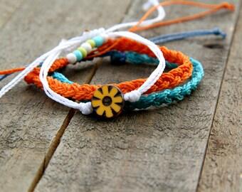 sunflower friendship bracelet, sunflower bracelet, sunflower charm bracelet, sunflower jewelry, friendship bracelet, friend gift