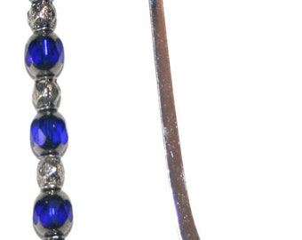 Unique Silver Fish Bookmark with Silver Overlay Blue Glass Beads