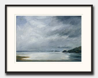 Abstract landscape beach - abstract seascape - modern art  - abstract print art wall - Ocean Print from an Oil painting by Juan Bosco
