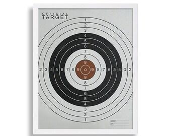 Modern Art Print Industrial Wall Art Target Print Target Practice Poster Bulls Eye Print Target Range Card Gift for Gamer Target Card