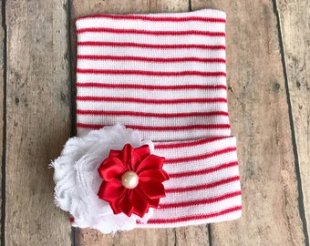Christmas baby hat - christmas girl hat - baby girl gift - holiday newborn baby girl hat - baby shower gift - christmas red and white hat