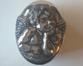 Angel topped silver tone oval box