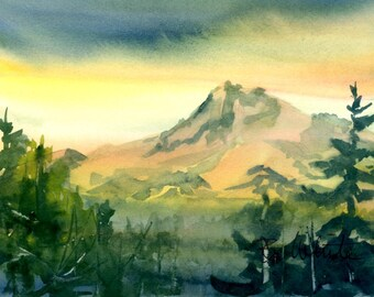 Mt. Hood Sunset - original watercolor, 5x7 matted to 8x10