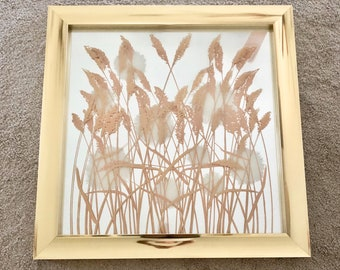 vintage large brass wall mirror with pampas grass Academy Arts boho decor