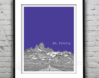 Mt. Fitzroy Argentina Skyline Poster Art Print Mount Fitzroy Version 1