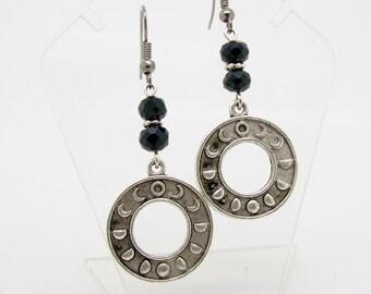 Moon Phase Earrings, Moon Earrings, Pagan Jewelry, Wicca Earrings