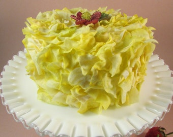 Lemon Yellow Cake Faux Flower Petal Cake with a Beaded Flower on Top Wedding Shower Cake Tea Party Decor Display Cake