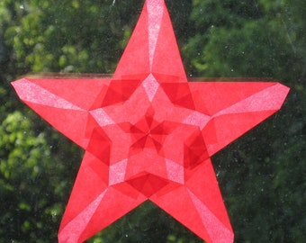 Ruby Red Origami Suncatcher with Large and Small Star Shapes