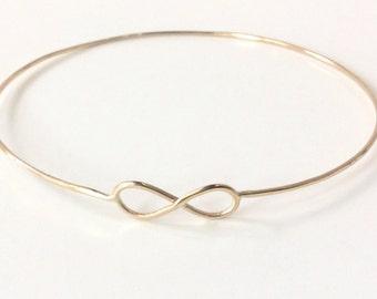 14K Gold Infinity Bracelet - Solid Gold Infinity Bangle - Hallmarked 14K