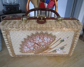 Wicker Fan Handbag Princess Charming by Atlas Hollywood Florida, Plastic, Straw, Rattan, Lucite Handles