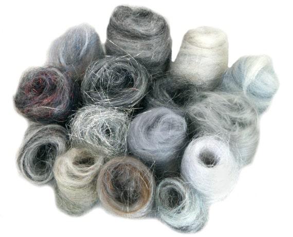 Grey Fiber kit, Sampler, wool, Gray firestar, glitz, Needle Wet Felting Spinning, monochromatic palette, mini batt, Silver grey roving, 1 oz