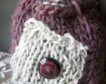 Knitted purse/drawstring pouch.Purple and grey.Whimsical bag.