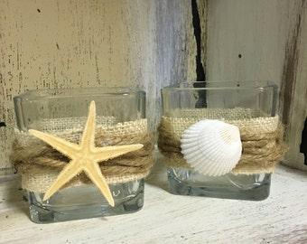 Pair of beach inspired votive holders