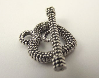 Textured Pewter Toggle Clasp, Heart Clasp, Large Toggle Clasp, 2 Sets