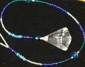 Large Blue and Crystal Pendulum Sun Catcher~Balance and Activate Chakras