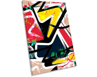 Graffiti Abstract Urban Grunge Framed CANVAS PRINT Portrait Wall Art