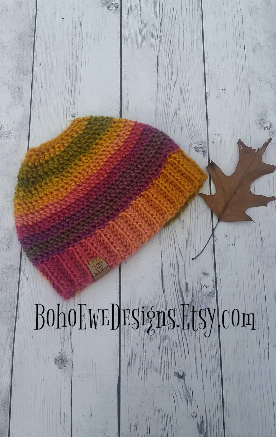 Messy Bun Beanie, Messy Bun Hat, Crochet Winter Beanie, Crochet Toque, Ponytail Hat, Winter Crochet Hat, Gift Under 30, Sale, Coral Pink