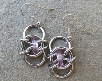 Chain Maille Earrings, Purple Earrings, Light Amethyst Glass Earrings, Purple Glass Jewelry